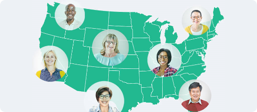 Map of America with profile photos of users in different states