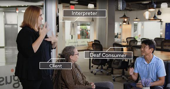 ASL Interpreter, Deaf Consumer, and Client communicating